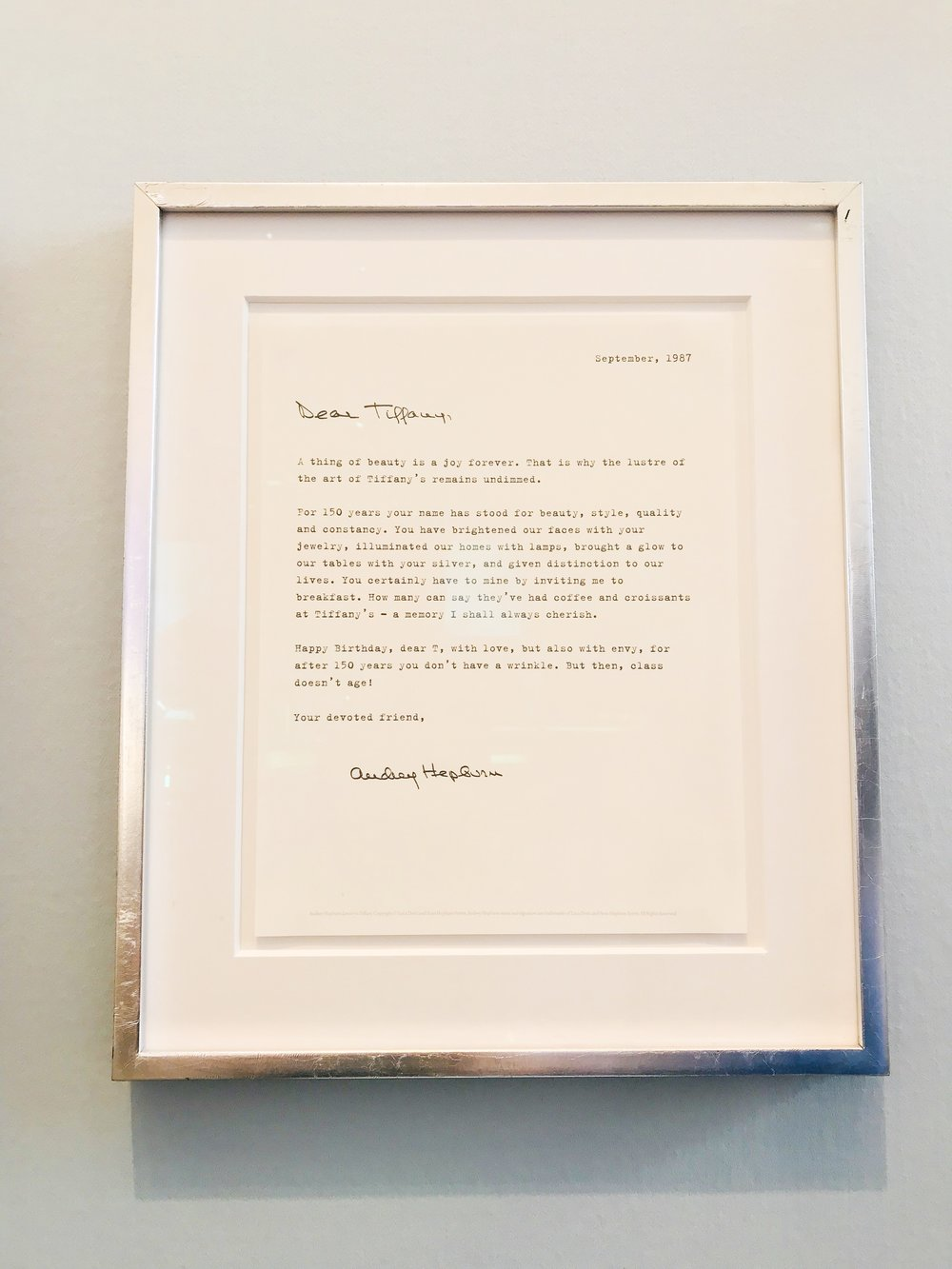 audrey's letter to tiffany, dated 1987