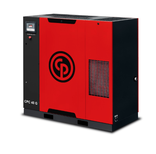 CPC 40-60 G  A 40-60 horsepower gear drive rotary screw compressor with optional integrated dryer.