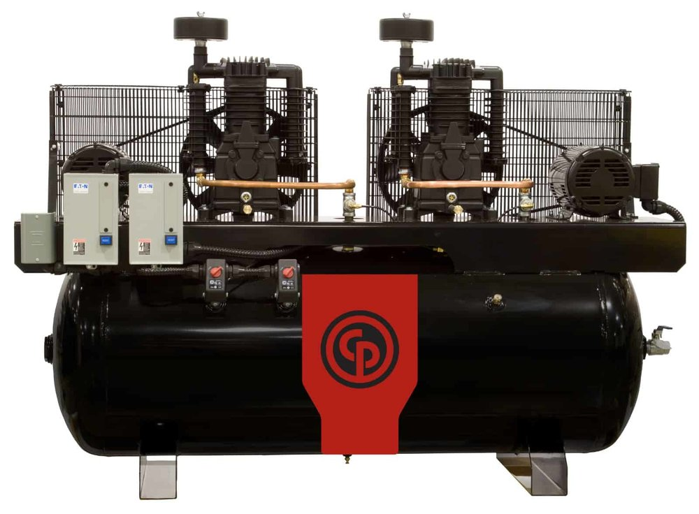 Two Stage Electric Duplex Compressors 10-15 hp  A 10-15 horsepower two stage electric duplex compressor.
