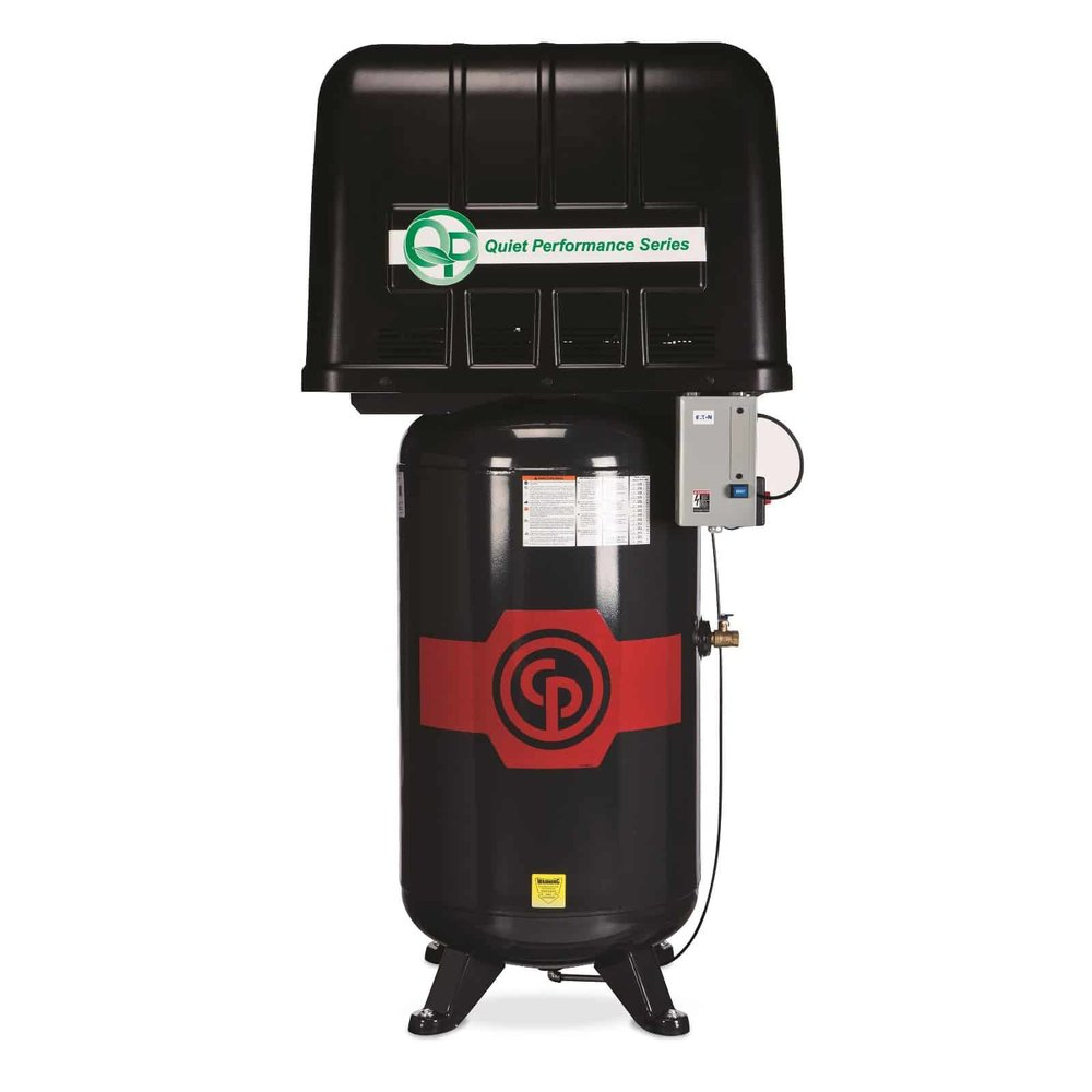 "Two Stage Electric ""Quiet Performance"" (QP) Compressors 5-7.5 hp  A 5-7.5 horsepower two stage electric compressor."