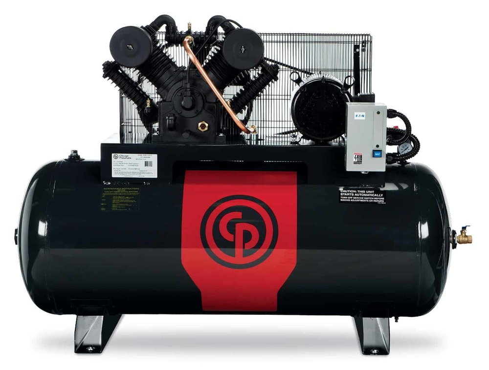 Iron Series - Two Stage Electric Simplex and Duplex Compressors 5-20 hp  A 5-10 horsepower two stage electric simplex compressor & 10-20 horsepower two stage electric duplex compressor.