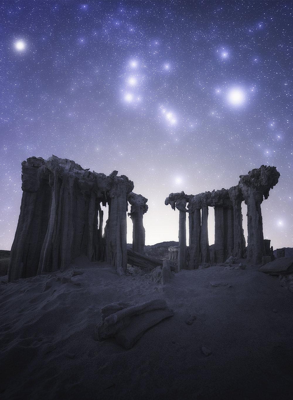The Orion Constellation rises above delicate tufa columns