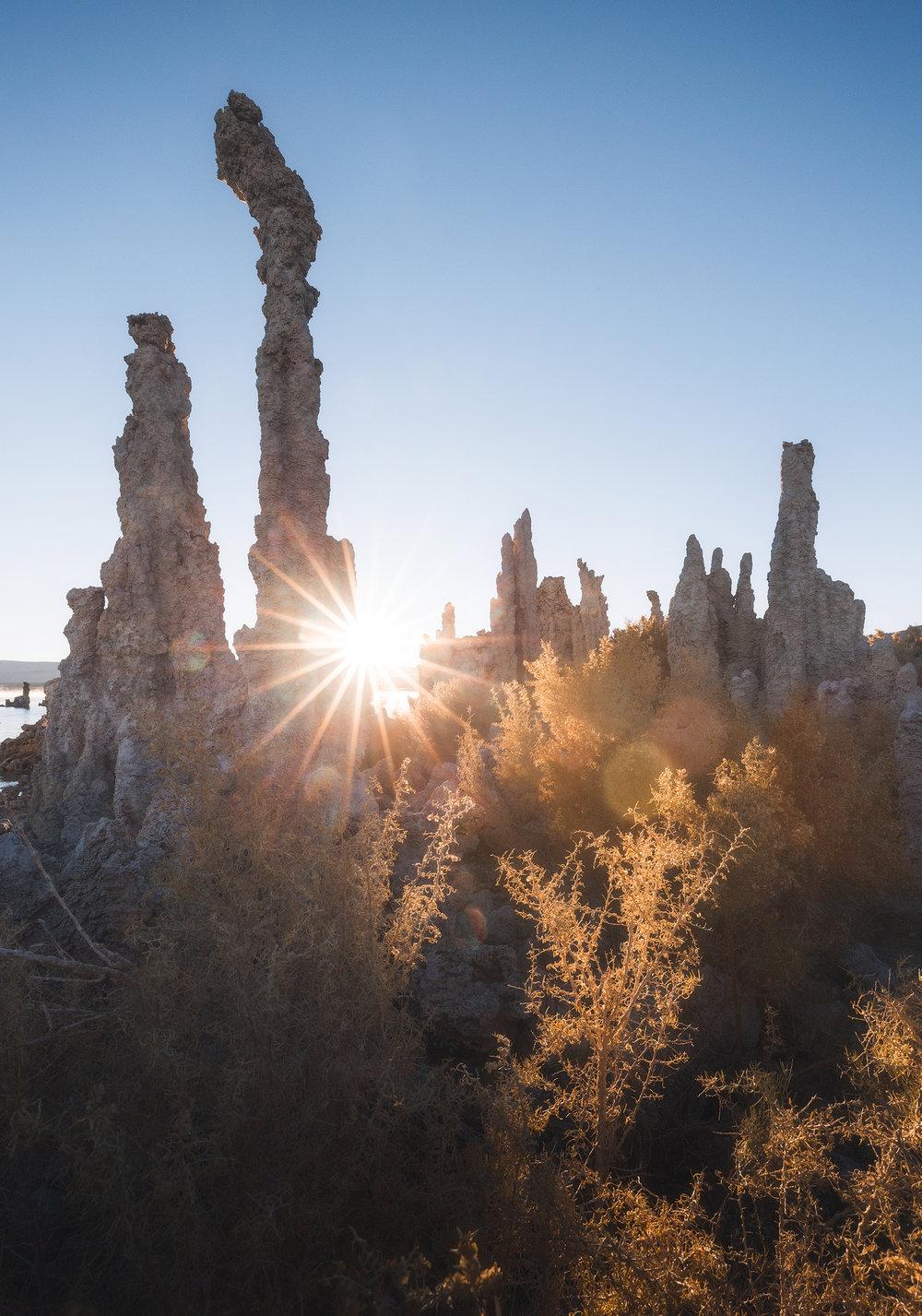 The tufa formations at sunrise