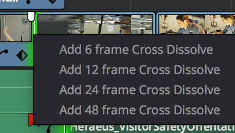 Video Cross Dissolve Controls
