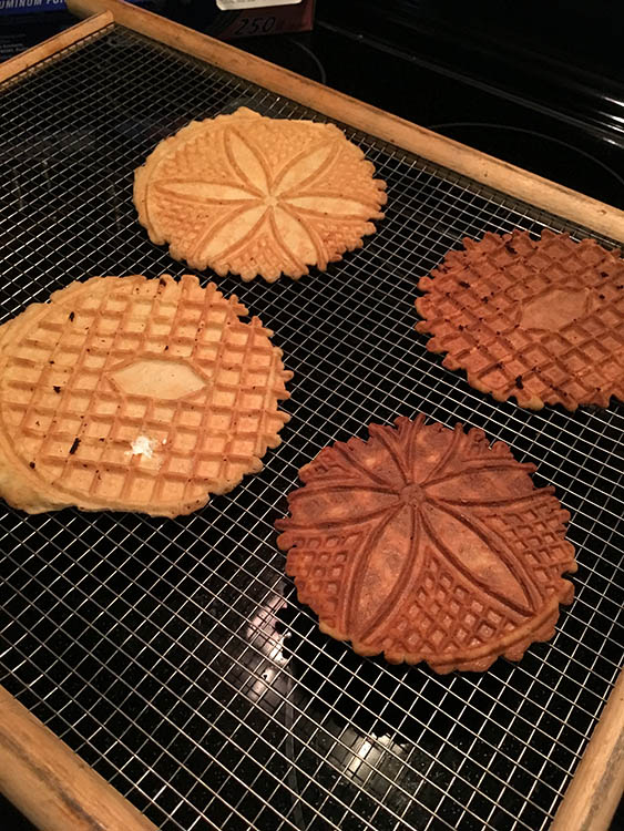 I ended up with about a dozen pizzelles. They were great straight up but even better with vanilla, chocolate, eggnog or peppermint ice cream!