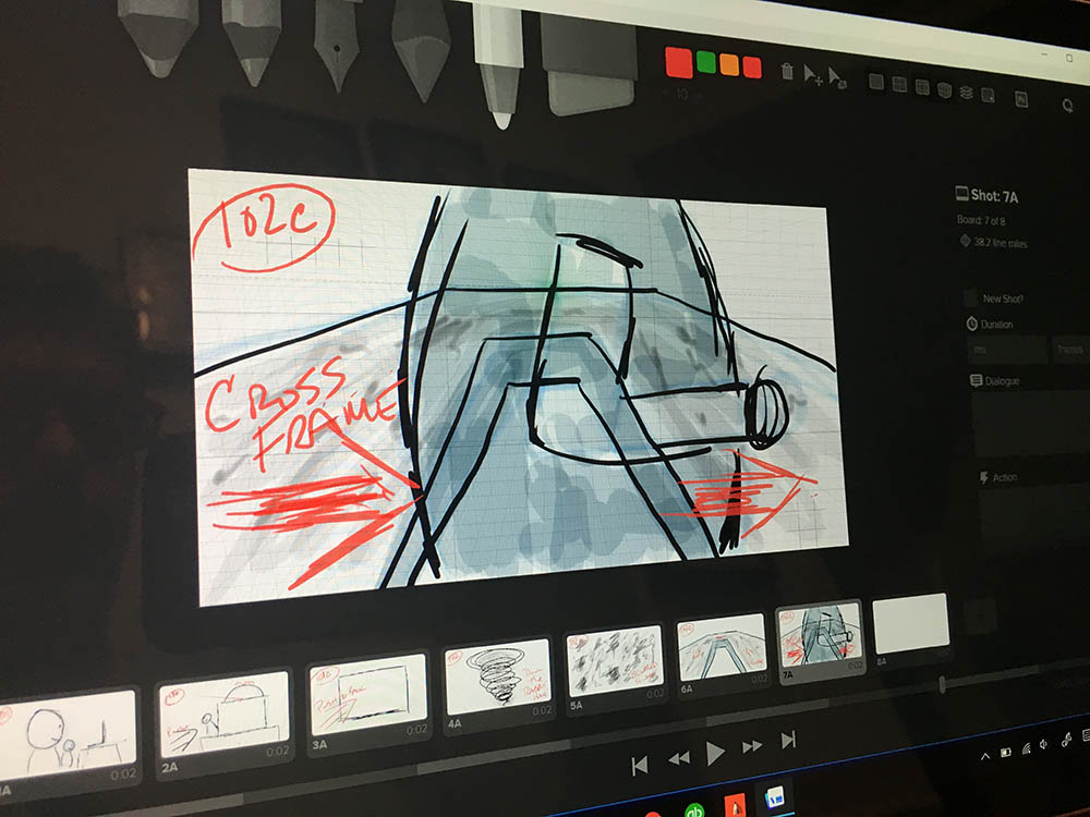 """Storyboarding """"Life of a Box"""" with Storyboarder on the Surface Pro."""