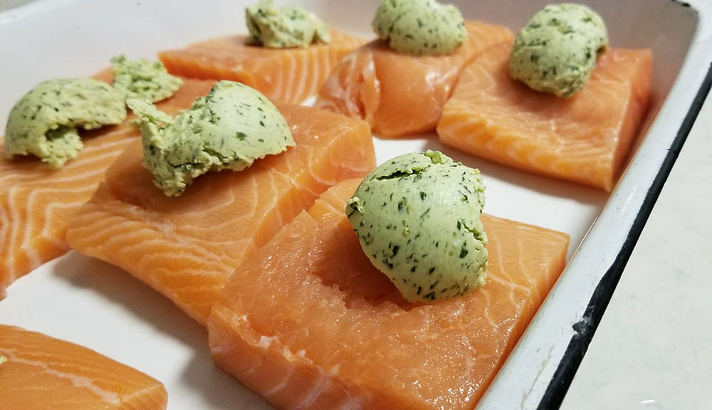 We made the pesto butter for the Salmon a day in advance.