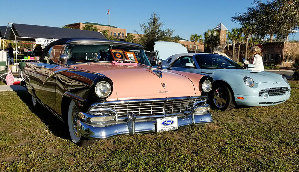 Classic cars on display during the Florida Azalea Festival.