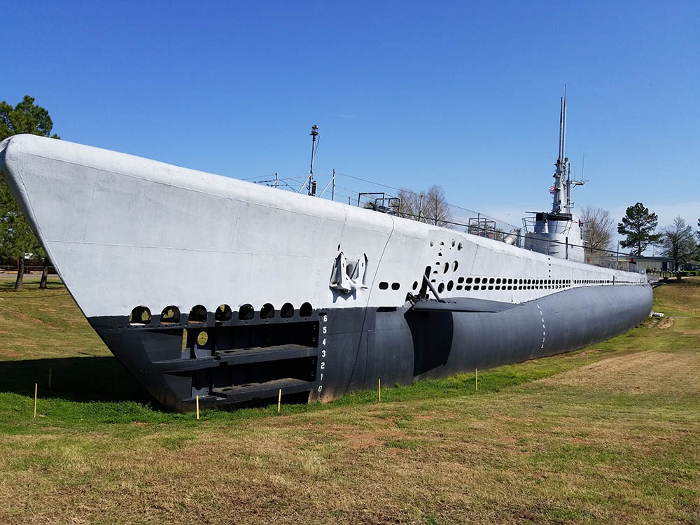 The USS Batfish, on display in Muskogee, Oklahoma.  You can board her and even sleep over!