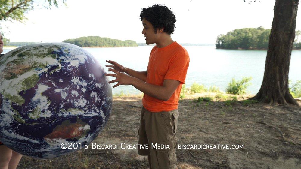 Ian filming a scene on the short of Lake Lanier at PineIsle Resort