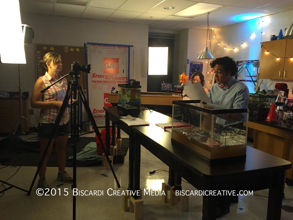 DP Cheryl Collins (left), Client Heather Moody and Ian Gregg in the main lab set as Ian reads a Voice Over