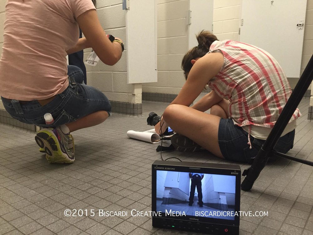 Yes, filming in the school bathroom for Water Science.