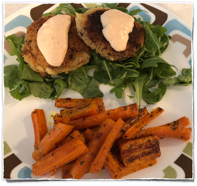 Crab Cakes with Lemon Sriracha Aioli & Carrot Fries