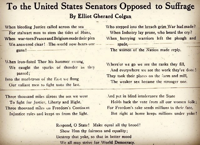 """And yet in blind intolerance the State / Holds back the vote from all our women folk; / For Freedom's sake sends millions to their fate, But right at home keeps millions under yoke!"" - poem in ""The Suffragist,"" September 1918 #womenshistory #herstory #equality"