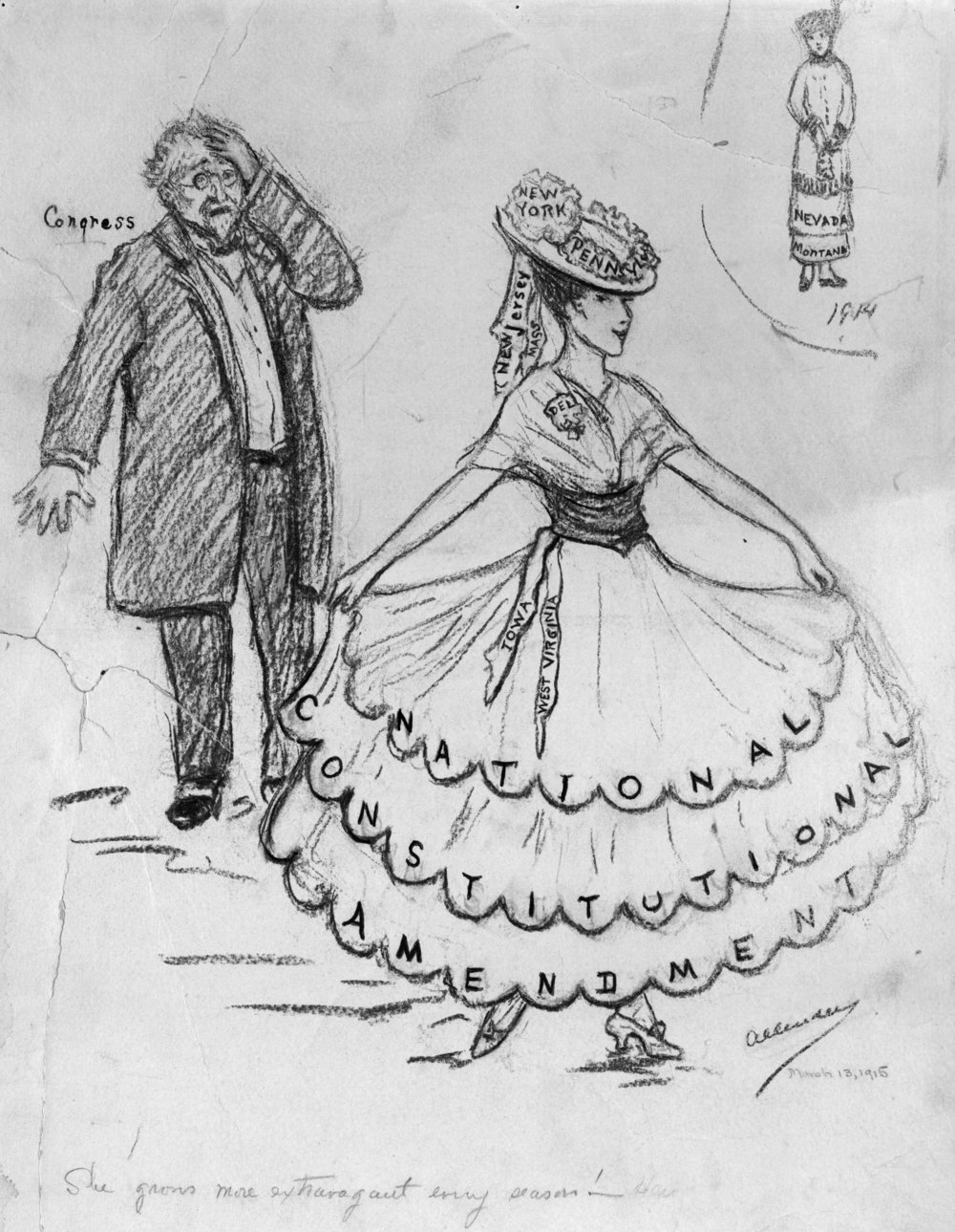 """""""Changing Fashions—She Used to Be Satisfied with So Little""""  by Nina Allender, March 13, 1915"""