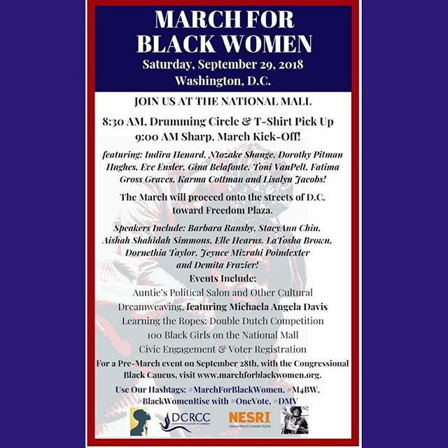 #MarchForBlackWomen tomorrow in #WashingtonDC - don't miss this amazing line-up of speakers!