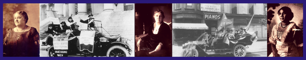 From left to right: Maggie Walker; NWP tour in VA, 1916; Sophie Meredith; NWP VA deputation to House, 1914; Ora Brown Stokes.