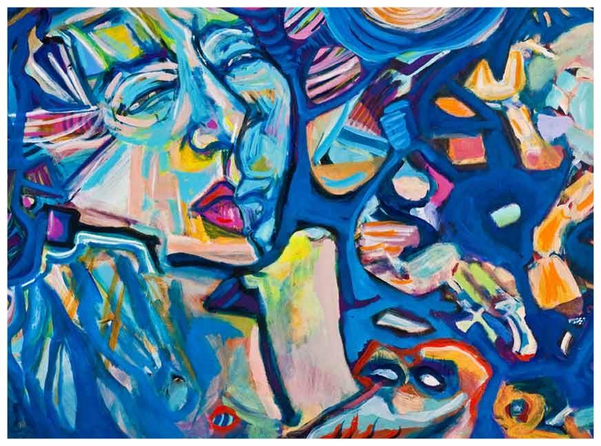 Blue Portrait 1980 40x30 Acrylic