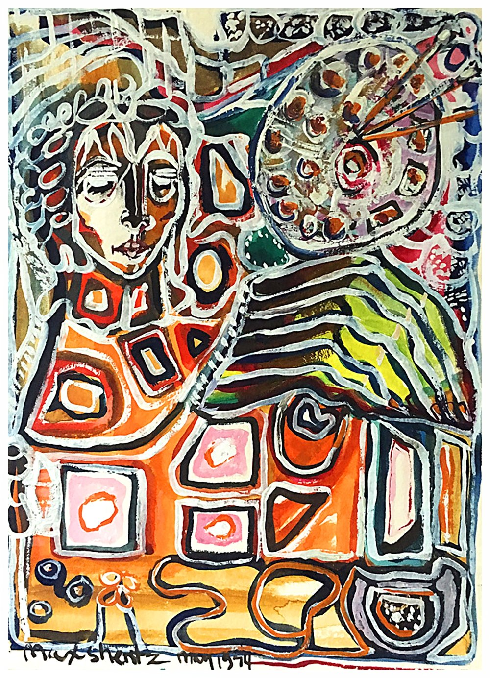 The Mosaic Lady 1974 12x9 Acrylic