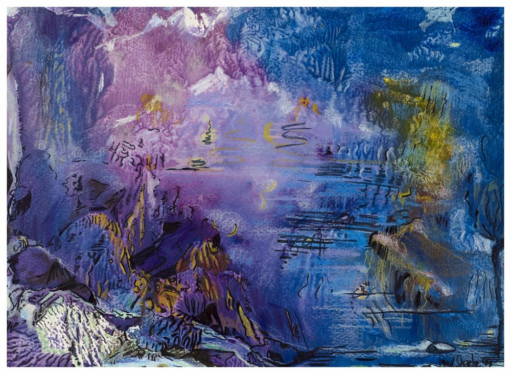 Enchanted Lagoon 1999 10x14 Mixed Medium
