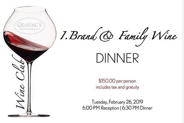 TONIGHT ✨I. Brand & Family Wine Dinner @grasingsrestaurantcarmel  Link in bio 👆🏼 Please join local winemaking family, Ian & Heather Brand tonight.  A few tickets remain for this evening's intimate dinner, showcasing I. Brand & Family Wines, alongside  Chef Kurt Grasing's culinary talents.  I. Brand & Family Wine Dinner Tuesday, February 26, 2019 Reception: 6:00pm / Dinner 6:30pm. . Reception Chef's Appetizers paired with  2018 Le P'tit Paysan, Rosé, Central Coast.  First Course Family Style Clams with Sausage & Seafood Platter paired with  2018 La Marea, Albariño Kristy Vineyard, Monterey. . Second course  Wild Mushrooms & Duck Lasagna with potatoes, truffle nage paired with  2016 I. Brand, Cabernet Franc Bayly Ranch, Paicines, San Benito & 2016 I. Brand, Cabernet Franc Bates Ranch, Santa Cruz Mountains. . Main Course Bison Rack with Gremolata Crust cipollini onions and baby turnips paired with  2014 I. Brand, Cabernet Sauvignon Monte Bello Road, Santa Cruz Mountains. . Dessert Candy Cap Crème Brûlée paired with  2012 I. Brand, Chardonnay 58 Month In Barrel, Monterey