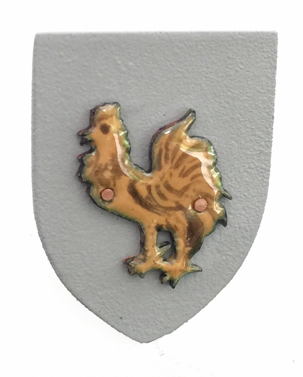Golden Rooster on Grey Shield