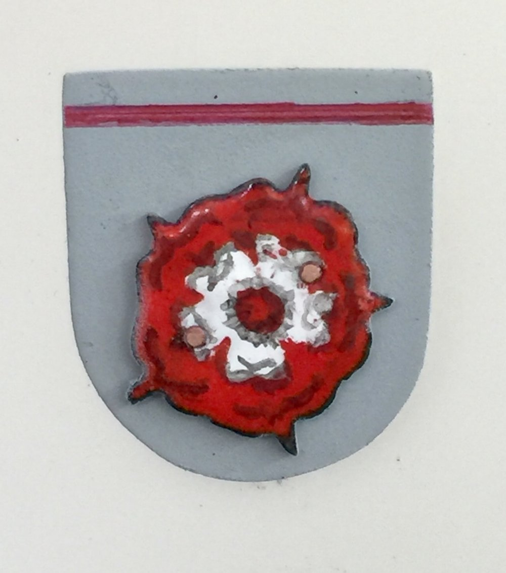 Double Tudor Rose on Grey Shield