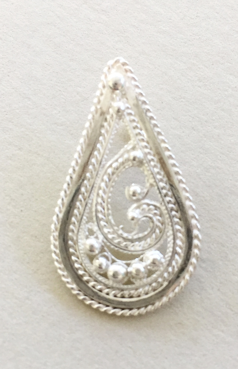 Fine Silver Filigree Teardrop Pendant with Twisted Wire Border and Balls