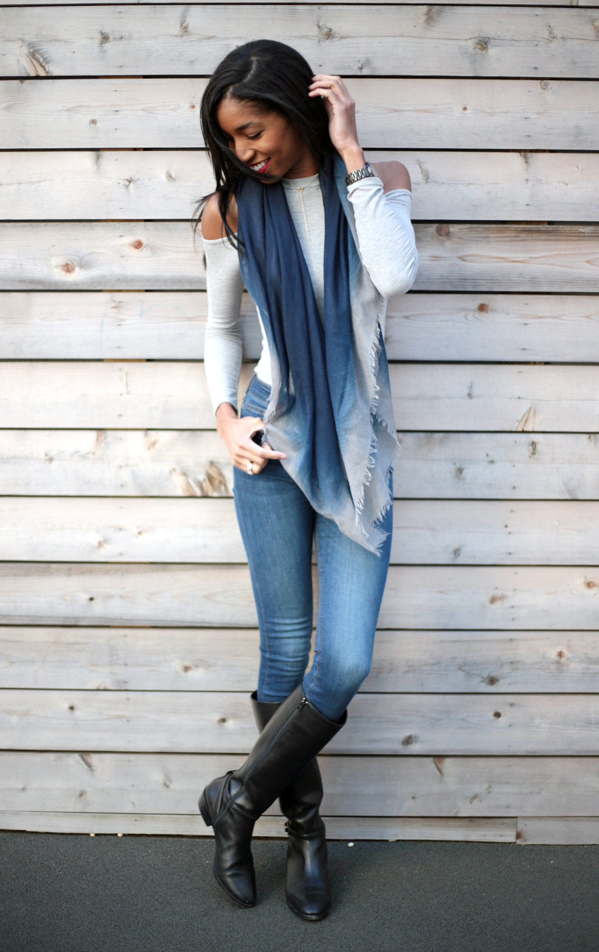 cold shoulder top, winter outfits, grey and navy outfits, winter style, coach boots, mom style
