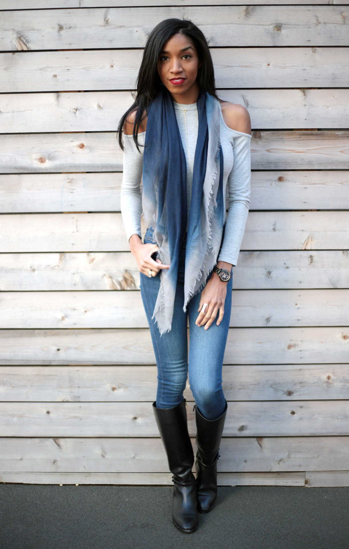 cold shoulder top, cold shoulder bodysuit, winter outfits, grey and navy outfits, winter style, coach boots, mom style