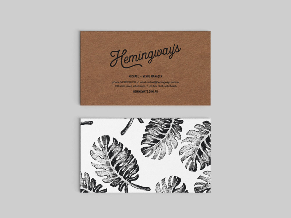 Branding for Hemingway's Restaurant, Airlie Beach