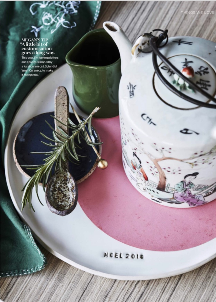 INSIDE OUT MAGAZINE NOV 2018 - I'm super excited to have my work featured in the November issue of Inside Out Magazine. The NOEL 2018 White dinner plate, Emu egg blue condiment dish and the speckled teaspoon were all made by me. See the how wonderful story with Rachel Castle, Megan Morton and Rachel Burke here.
