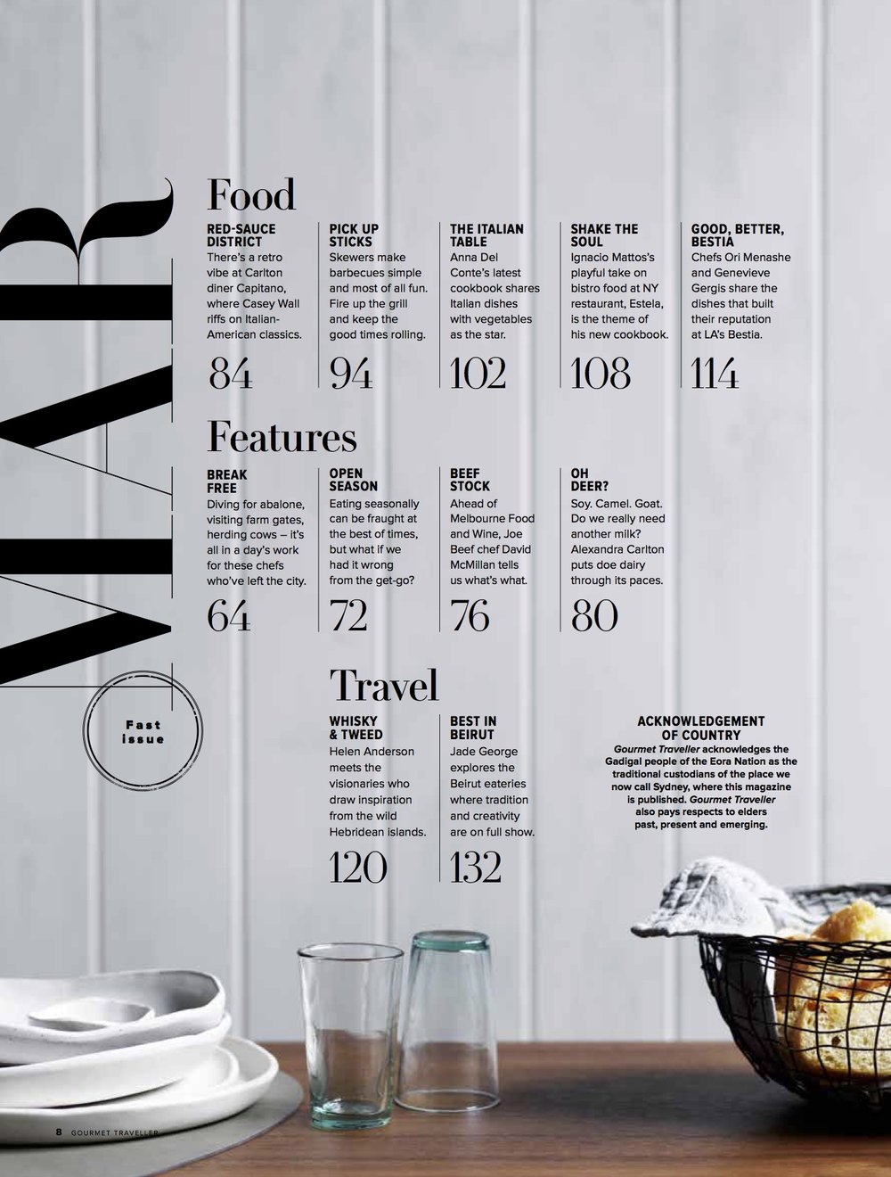 GOURMET TRAVELLER MARCH 2019 - Such a treat to spot a stack of white on white Splendid Wren plates on the contents page of the Gourmet Traveller March issue.