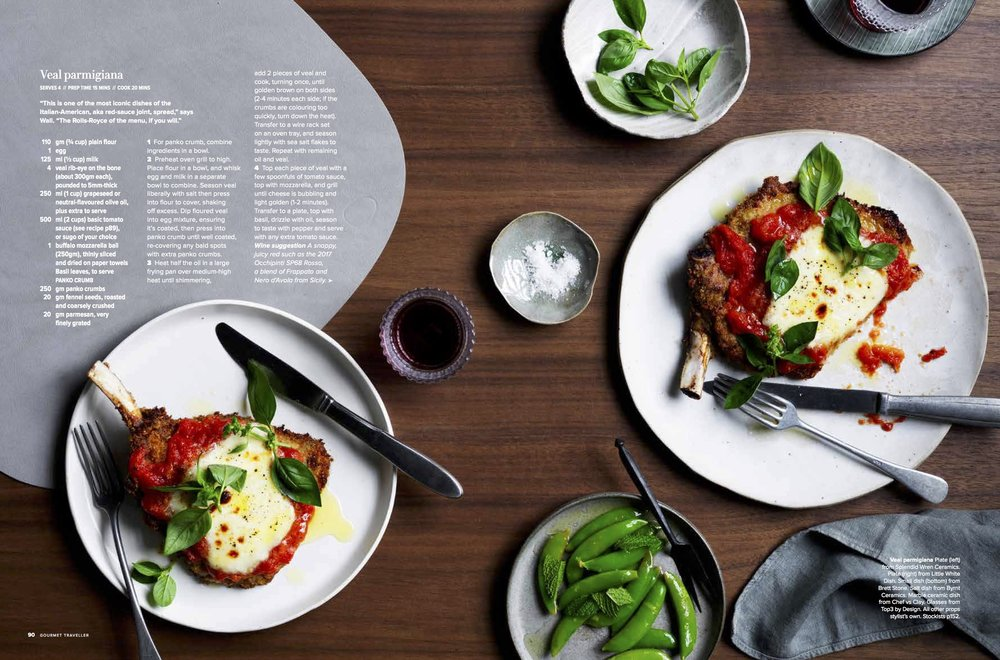 GOURMET TRAVELLER March 2019 - And that's a white on white dinner plate by me on the left. How good does that parmagiana look?!