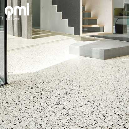 Porcelain look Terrazzo matt finish also available in a polished finish available in @qmi_tile_and_stone  #terrazzofloor #terrazzo #porcelaintiles #floortilesdesign #livingroom #bathroom #featurewall #featuretile #swbuilding #swbusiness #renovating