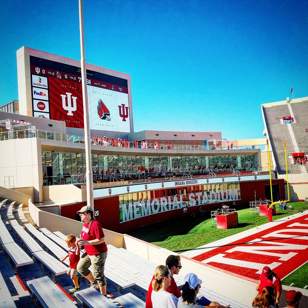 A view of the newly renovated IU Excellence Academy and massive video board from our seats in section 30.