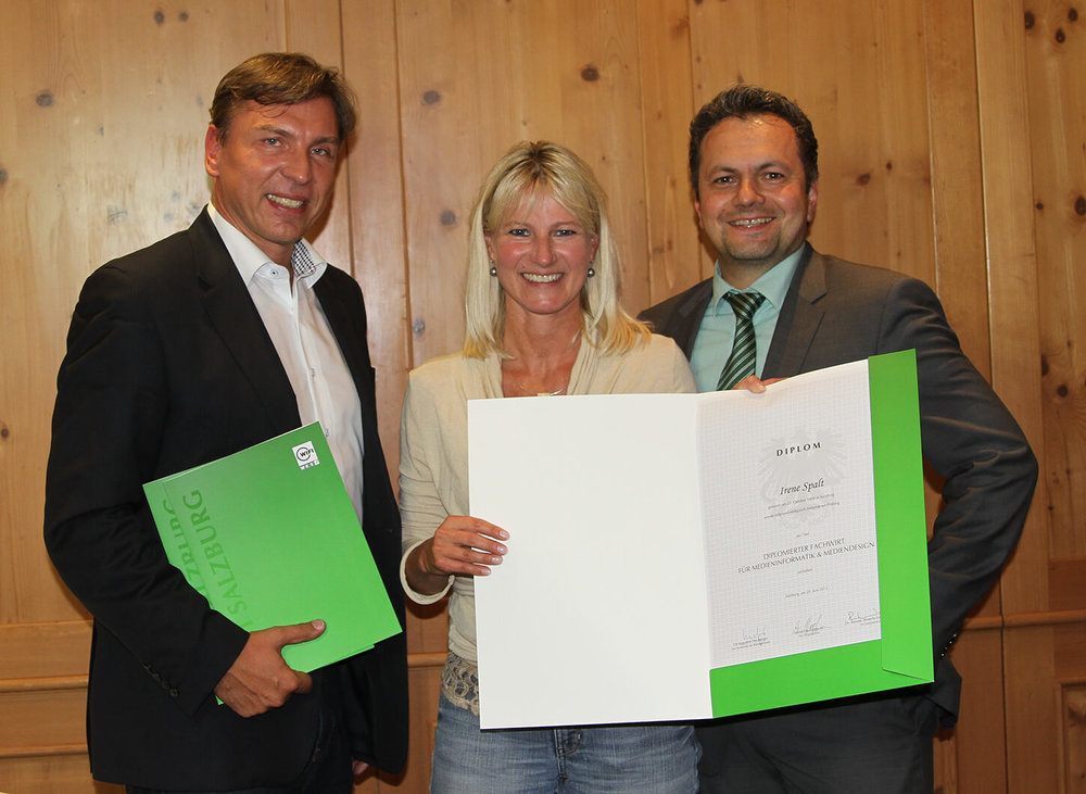 Abb. (v.l.): WIFI-Referent Günter Gutfertinger, Irene Spalt, FAMI-Lehrgangsleiter Alfred Haslinger MSc