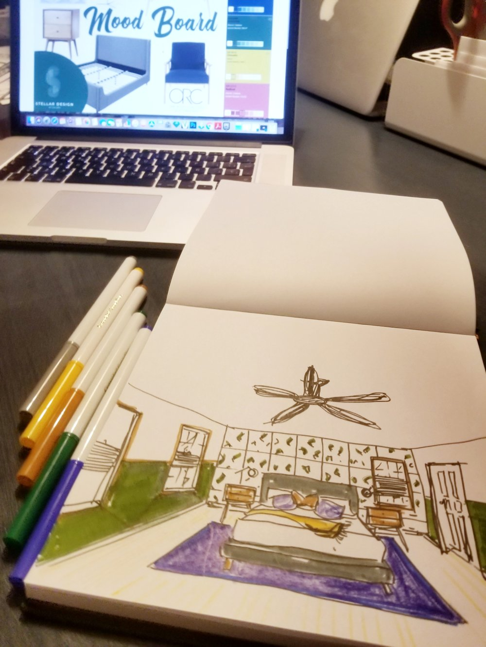 Sketching the bedroom