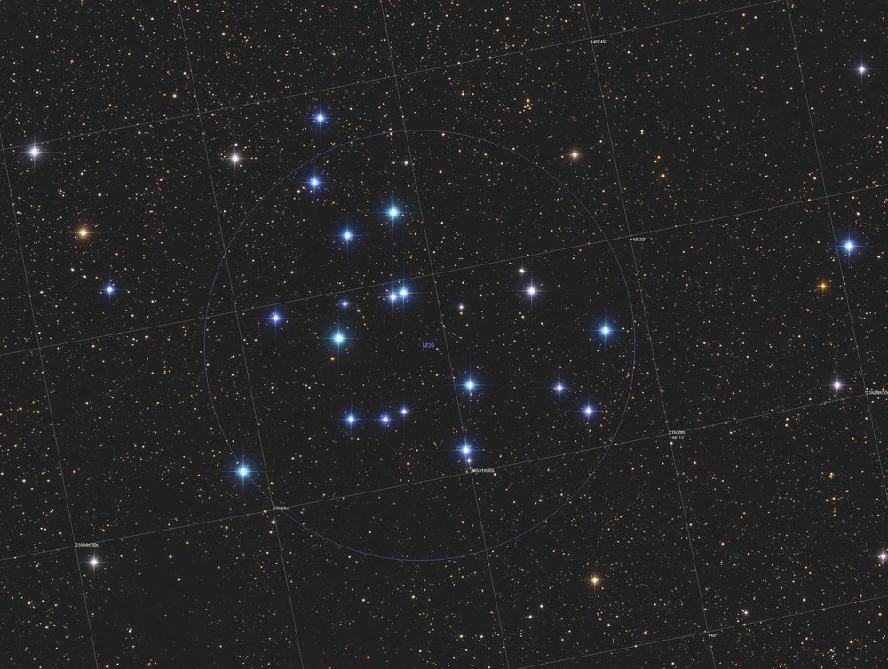 Messier 39  (also known as  M39 , or  NGC 7092 ) is an open cluster in the constellation of Cygnus. It was discovered by Charles Messier in 1764. M39 is at a distance of about 326 pc (1,060 ly) from Earth whose age is estimated to be from 278 million years.