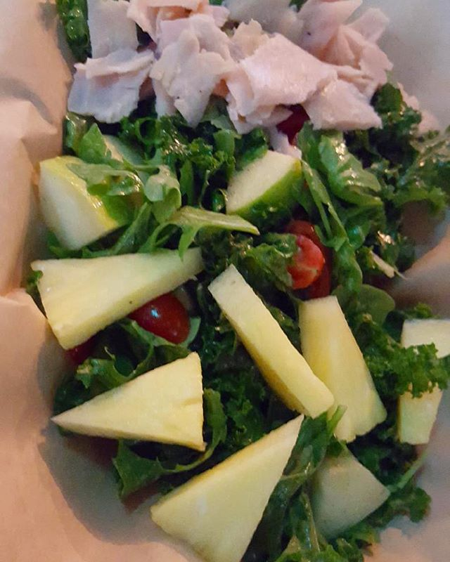 Create your own salad 🥗: Kale, Arugula Pineapple, Smoke Turkey, Tomato, & Apple with French Vinaigrette yum yum 😋 - @cassavahouseny We're here 7 days from 7am to 7 pm