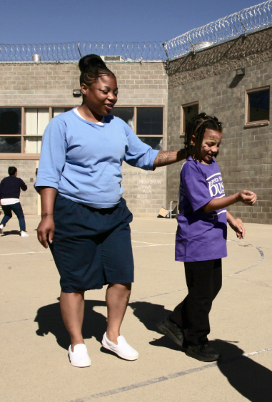 Donisha, left, with her daughter, Mayal, at Folsom Women's Facility. COURTESY OF JAIME JOYCE