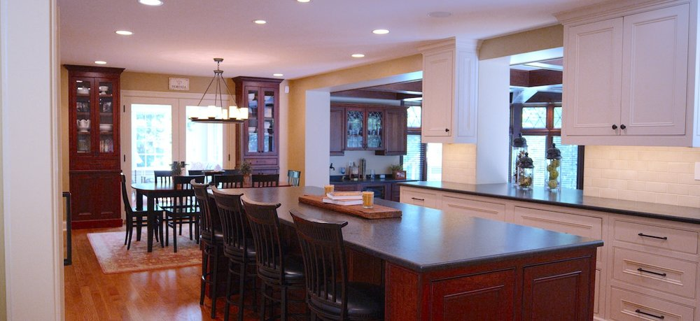 - The thoughtful design of this kitchen creates a new flow for this home, opening up a new space for every day life and special occasions. A multipurpose kitchen island leads into a light-filled eating area.