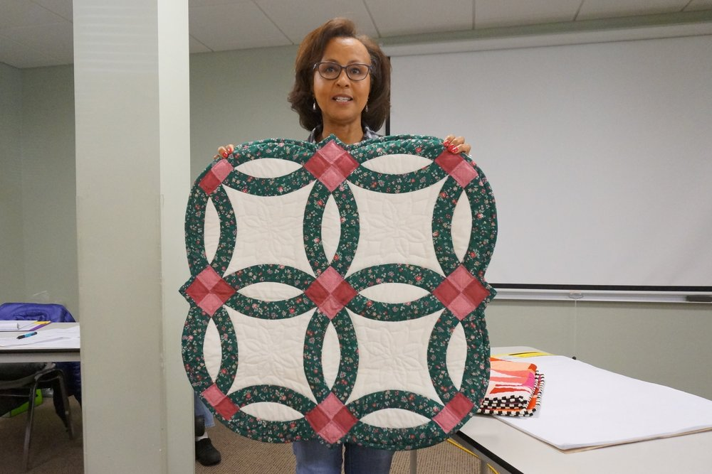 - Beverly made her first quilt, a double wedding ring wall hanging, in a class.