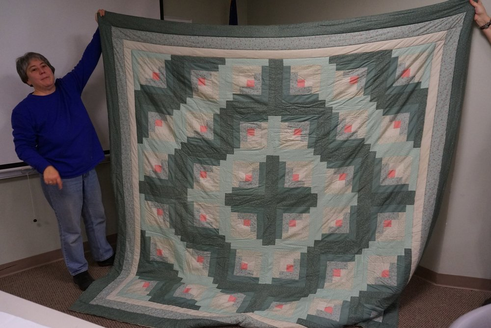 "- Lil's log cabin quilt was from the Eleanor Burns ""Quilt in a Day"" pattern. She made it for her dad with a double batting and hand-tied it."