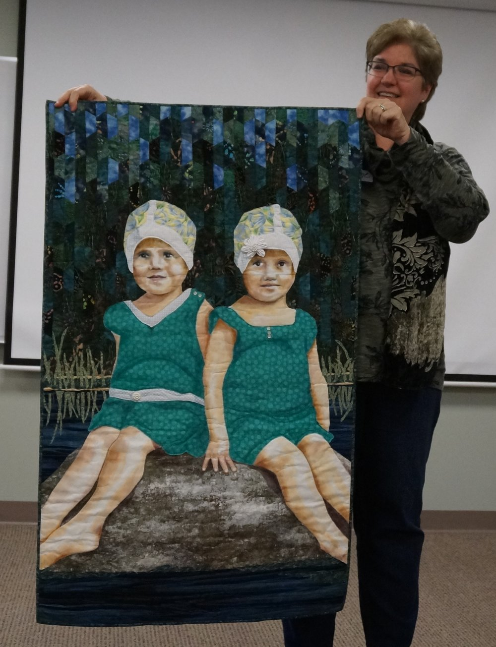 "Suzanne will have two quilts in shows this year. The quilt above, ""Edith and Eleanor,"" will appear in an exhibit at the New England Quilt Museum in April."
