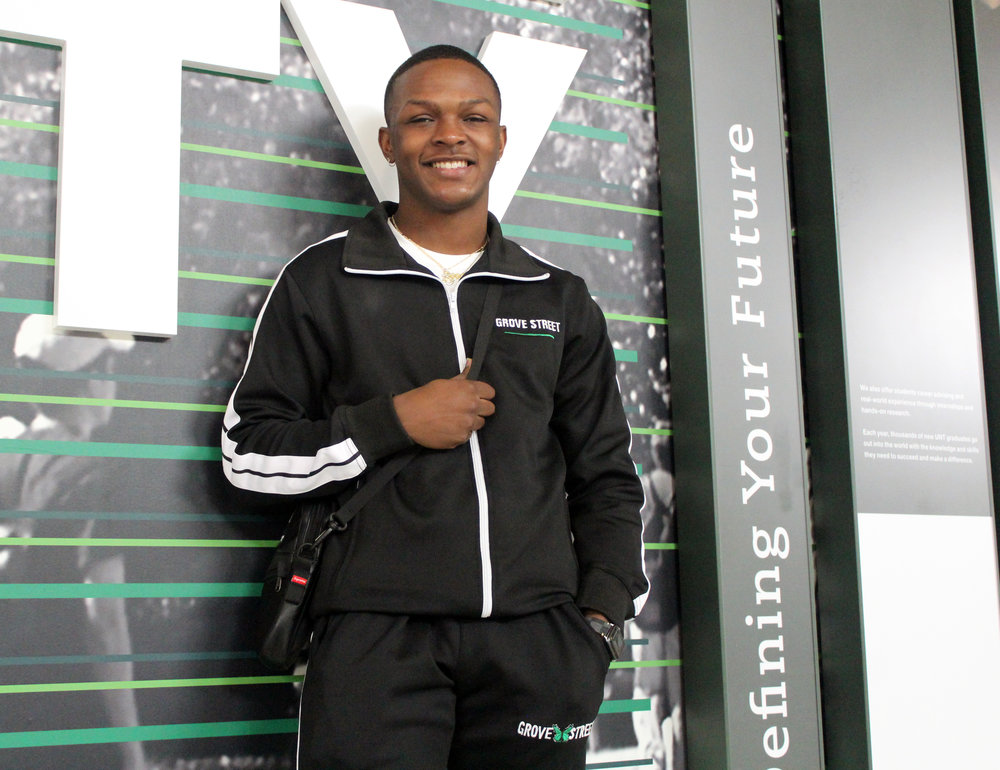 Michael Sheppard, 19, wearing the first Grove Street tracksuit at the University of North Texas, Denton campus.
