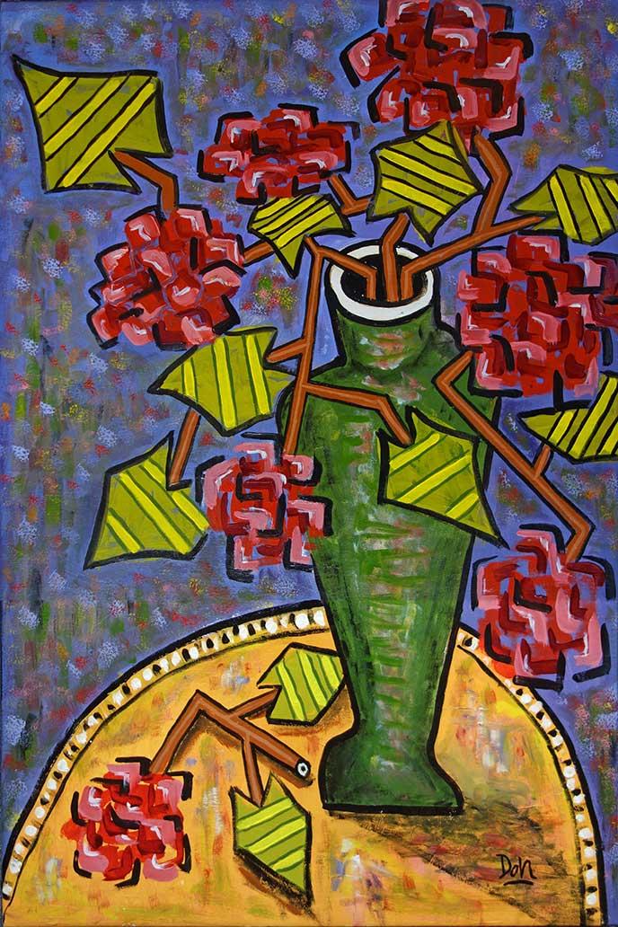 """""""Gerania""""  36""""  x  24""""  acrylic on canvas"""