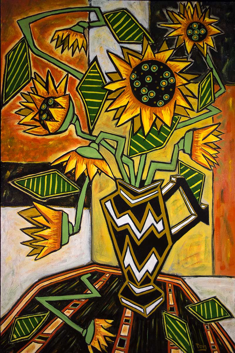 """Sunflowers in Zigzag Vase""  36"" x  24""  acrylic on canvas"