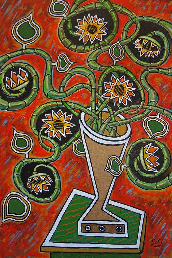 """Dante's Sunflowers""  36""  x 24""  acrylic on canvas"