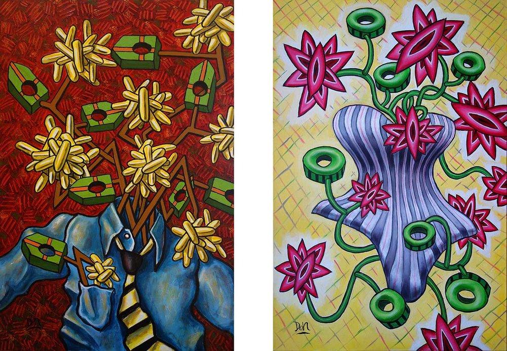 """""""Mr. & Mrs.""""  36"""" x  24"""" (each)  acrylic on canvas"""